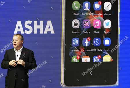 Stephen Elop Executive Vice President of Devices & Services at Nokia Delivers a Speech During the Presentation of Several Mobile Phones Using Android Os As Part of Mobile World Congress in Barcelona Northeastern Spain 24 February 2014 Mobile World Congress the World's Most Important Exhibition in the Mobile Industry Will Gather From 24 to 27 February Around 1 700 Exhibitors From 205 Countries From Around the World Spain Barcelona