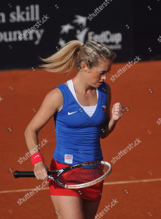 Czech Tennis Player Klara Zakopalova Celebrates a Point Against Spain's Maria Teresa Torro During Their Match of the Fed Cup World Group First Round Tie Between Spain and the Czech Republic in Seville Spain 10 February 2014 Spain Seville