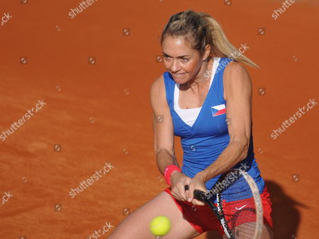 Czech Tennis Player Klara Zakopalova Returns Against Spain's Maria Teresa Torro During Their Match of the Fed Cup World Group First Round Tie Between Spain and the Czech Republic in Seville Spain 10 February 2014 Spain Seville