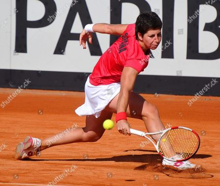 Spain's Carla Suarez Navarro Returns the Ball to Czech Republic's Klara Zakopalova During Their Match of the Fed Cup World Group First Round Tie Between Spain and the Czech Republic in Seville Spain 10 February 2014 Spain Seville