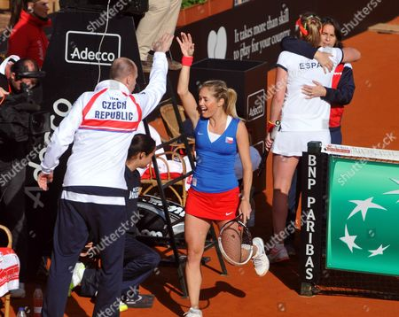 Czech Tennis Player Klara Zakopalova (c) Celebrates After Beating Spain's Maria Teresa Torro (2-r) in Their Match of the Fed Cup World Group First Round Tie Between Spain and the Czech Republic in Seville Spain 10 February 2014 Spain Seville