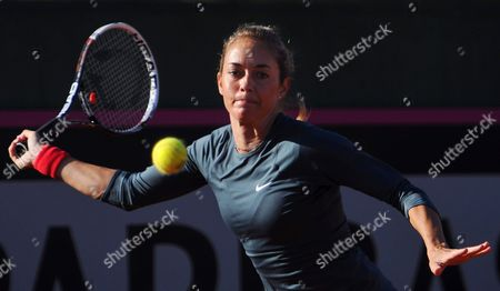 Czech Tennis Player Klara Zakopalova Returns the Ball to Spain's Maria Teresa Torro During Their Match of the Fed Cup World Group First Round Tie Between Spain and the Czech Republic in Seville Spain 10 February 2014 Spain Seville