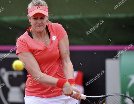 Spanish Tennis Player Maria Teresa Torro Returns the Ball to Czech Klara Zakopalova During the Fed Cup World Group First Round Tie Between Spain and the Czech Republic in Seville Spain 09 February 2014 Spain Seville