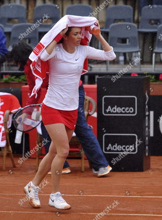 Czech Tennis Player Klara Zakopalova Leaves the Tennis Court After Her Match Against Spaniard Maria Teresa Torro was Suspended Because of Heavy Rain During the Fed Cup World Group First Round Tie Between Spain and the Czech Republic in Seville Spain 09 February 2014 Spain Seville