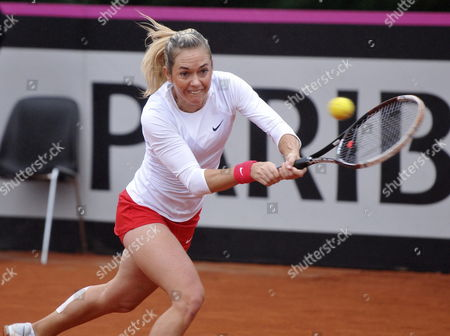 Czech Tennis Player Klara Zakopalova Returns the Ball to Spaniard Maria Teresa Torro During the Fed Cup World Group First Round Tie Between Spain and the Czech Republic in Seville Spain 09 February 2014 Spain Seville
