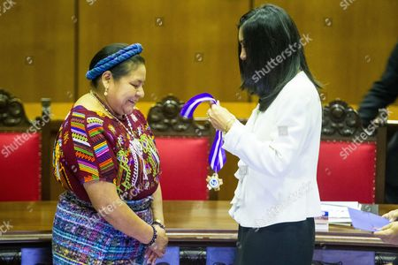 Nobel Peace Prize Winner 1992 Guatemalean Native Activist Rigoberta Mench· (l) Receives a Decoration For Her Fight For Gender Equality Given by the Venezuelan Supreme Tribunal of Justice (tsj) During an Act in Caracas Venezuela 26 November 2013 Menchu was the Principal Speaker of the Event Due to the Commemoration of the International Day of the Elimination of Violence Against Women Venezuela Caracas