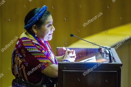 Stock Picture of Nobel Peace Prize Winner 1992 Guatemalean Native Activist Rigoberta Mench· Speaks During an Act Due to the Commemoration of the International Day of the Elimination of Violence Against Women in Caracas Venezuela 26 November 2013 where She Received a Decoration For Her Fight For Gender Equality Given by the Venezuelan Supreme Tribunal of Justice (tsj) Venezuela Caracas