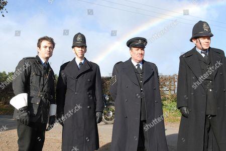 'Heartbeat'  - Series 17 - 'Heart of the Man' - PC Joe Mason (Joe McFadden), PC Geoff Younger (Steven Blakeley) Sgt George Miller (John Duttine) and PC Don Wetherby (Rupert Ward-Lewis)