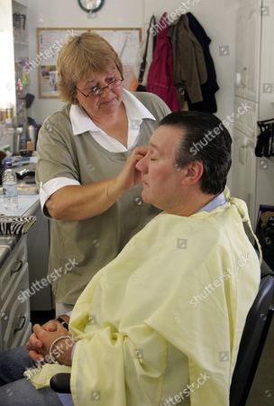 'Heartbeat'  -  Make up designer Jill Rogerson working on Sgt Miller (John Duttine )