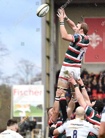 Leicester's Tom Croft secures clean line out ball - Rugby Union - Leicester Tigers V Northampton Saints - Anglo-Welsh Cup - 28/01/17 - at Welford Road, Leicester UK. Photo Credit - Tom Dwyer/Seconds Left Images