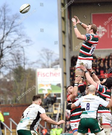 Leicester's Tom Croft, secures clean line out ball - Rugby Union - Leicester Tigers V Northampton Saints - Anglo-Welsh Cup - 28/01/17 - at Welford Road, Leicester UK. Photo Credit - Tom Dwyer/Seconds Left Images