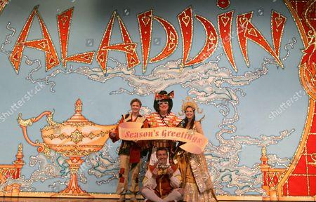 Bradley Walsh as Wishee Washee, Eric Potts as Widow Twankey, Eloise Irving as The Princess and Neil Toon as Aladdin
