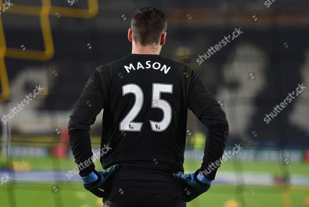 David Marshall of Hull City warms up wearing a shirt with the name of team mate Ryan Mason on during the EFL Cup semi final 2nd leg between Hull City and Manchester United played at the KCOM Stadium, Hull on 26th January 2017