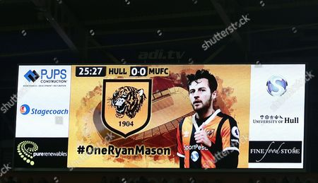 Hull City fans pay tribute to injured midfielder Ryan Mason on 25 minutes during the EFL Cup semi final 2nd leg between Hull City and Manchester United played at the KCOM Stadium, Hull on 26th January 2017