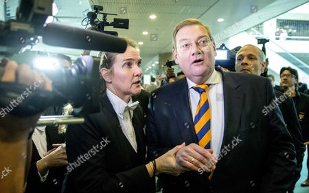 Stock Picture of Dutch Minister of Safety and Justice Ard van der Steur (C) meets the press prior to the debate in the parliament, The Hague, The Netherlands, 26 January 2017. The debate was about the so-called Teeven deal - a deal then prosecutor Fred Teeven made with drug criminal Cees H. in 2000 that basically meant that H. got nearly 5 million guilders in return for paying a 750 thousand guilder fine. On 23 January, journalist Bas Haan revealed a hitherto secret email which shows that Van der Steur as parliamentarian advised that important information be withheld from the Tweede Kamer, the lower house of Dutch parliament.