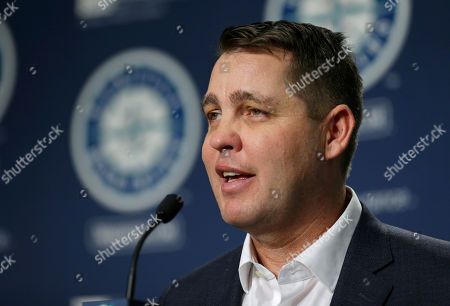 Andy McKay, director of player development for the Seattle Mariners, talks to reporters in Seattle, during the Mariners' annual pre-season briefing before the start of Spring Training