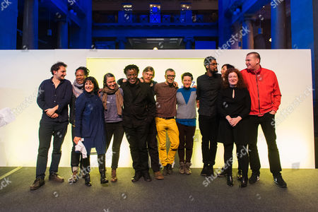 Artes Mundi winner John Akomfrah (fifth from left) and shortlisted artists.  Neil Beloufa, Amy Franceschini / Futurefarmers, John Akomfrah, Nastio Mosquito, Lamia Joreige, Bedwyr Williams