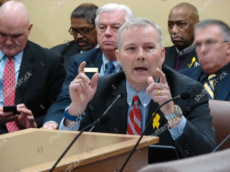 Lt. Gov. Tim Griffin speaks to the House Revenue and Taxation Committee at the state Capitol, in Little Rock, Ark. Griffin was testifying in favor of a bill that would cut taxes on military veterans who retire in the state. The bill passed the panel on a voice vote