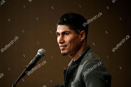 Mikey Garcia, of the U.S., speaks during a news conference, in Las Vegas. Garcia is scheduled to fight Dejan Zlaticanin, of Montenegro, in a lightweight title boxing match Saturday in Las Vegas
