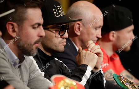 Dejan Zlaticanin, of Montenegro, attends a news conference, in Las Vegas. Zlaticanin is scheduled to fight Mikey Garcia in a lightweight title boxing match Saturday in Las Vegas