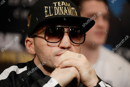 Dejan Zlaticanin, of Montenegro, and attends a news conference, in Las Vegas. Zlaticanin is scheduled to fight Mikey Garcia in a lightweight title boxing match Saturday in Las Vegas