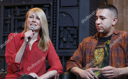 US filmmakers Kitty Green, (L) and Dan Sickles (R) answer questions at 'This is Not a Panel' discussion at the Film Makers Lodge at the 2017 Sundance Film Festival in Park City, Utah, USA, 26 January 2017. The festival runs from 19 to 29 January.