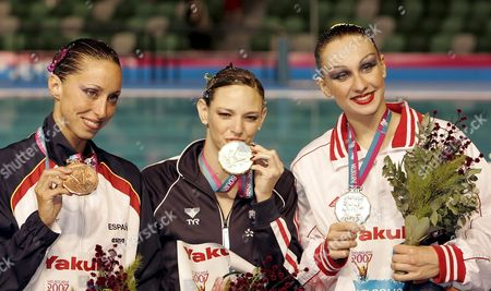 (l-r) Third Placed Gemma Mengual Civil of Spain Winner Virginie Dedieu of France and Second Placed Natalia Ischenko of Russia Pose with Their Medals After the Award Ceremony For Synchronized Swimming Solo Free Routine Final at the Susie O'neill Pool at the Fina Swimming World Championships in Melbourne Australia Thursday 22 March 2007 Australia Melbourne