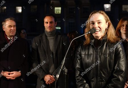 Former Tennis Player Swiss Martina Hingis (r) Has a Speech at a Promotion Event For the Un 'Year of Sport 2005' at the Somerset House in London Monday 13 December 2004 in the Background Swiss Adolf Ogi (l) United Nations Special Representative For Sports and Swiss Former Soccer Player Ramon Vega (c) Are Listening Around 80 Represantatives of the World of Sport Politics and Economy Attended the Event in London Switzerland Schweiz Suisse London