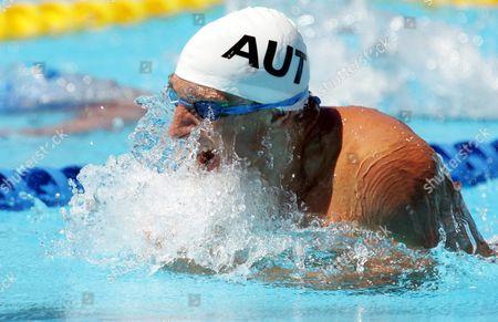 Stock Image of Austia's Maxim Podoprigora Swims During the Men's 100m Breaststroke Preliminary Heat at the Fina World Championships in Montreal Canada Sunday 24 July 2005 Canada Montreal