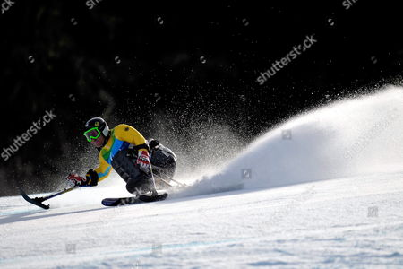 Germany's Martin Braxenthaler in Action During the First Run of the Men's Super Combined Sitting of the 2010 Vancouver Winter Paralympics at Whistler Creekside on March 20 2010 in Whistler Canada Martin Braxenthaler Won the Men's Super Combined Sitting Canada Whistler