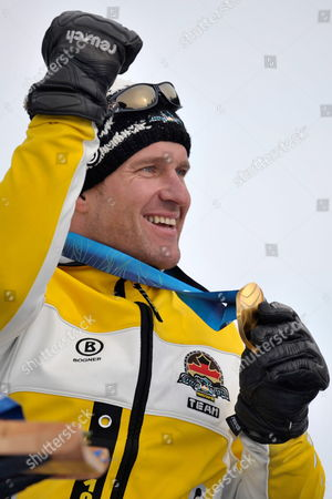 Stock Picture of Gold Medalist Martin Braxenthaler From Germany Celebrates During the Medals Presentation of the Men's Super Combined Sitting of the 2010 Vancouver Winter Paralympics at Whistler Creekside on March 20 2010 in Whistler Canada Canada Whistler