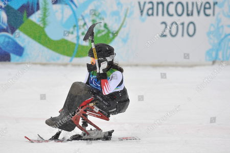Austrian Claudia Loesch Celebrates After Winning the Women's Slalom Sitting of the 2010 Vancouver Winter Paralympics at Whistler Creekside on March 14 2010 in Whistler Canada Canada Vancouver