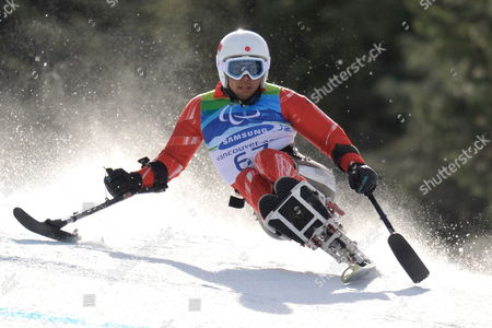 Japanese's Akira Kano in Action During the Men's Super-g Sitting of the 2010 Vancouver Winter Paralympics at Whistler Creekside on March 19 2010 in Whistler Canada Akira Kano Win the Men's Super-g Sitting Canada Whistler