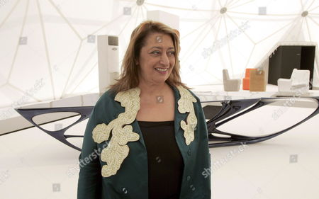 Iraqi-british Architect Zaha Hadid in Front of 'Mesa' (zaha Hadid and Patrik Schumacher) at the Exhibition of the Vitra Edition in the Vitra Design Museum in Weil Am Rhein Germany 13 June 2007 Vitra Edition is a Laboratory That Provides Architects and Designers with the Freedom to Create Experimental Furniture Objects and Interior Installations After a First Presentation on the Vitra Campus During Art 38 Basel 2007 the New Vitra Edition Prototypes Will Be Shown in Museums and Galleries Worldwide Germany Weil Am Rhein