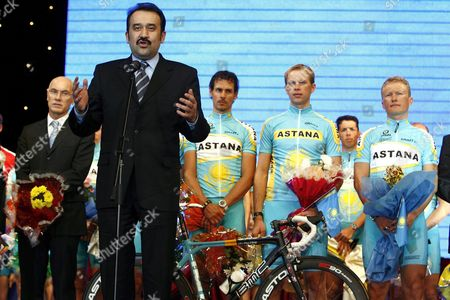 New Kazakh Prime Minister Karim Masimov (2nd L) Speaks in Front of (l-r) General Manager of the Astana Cycling Team Swiss Marc Biver German Andreas Kloeden Kazakhstan's Andrej Kashechkin and Alexander Vinokourov During the Official Presentation of the New Cycling Team in Astana Kazakhstan Friday 19 January 2007 the Astana Team is a Professional Cycling Team Sponsored by the Astana Group a Coalition of Companies From Kazakhstan Named After Its Capital the Team is Swiss Based and Managed by Former Tour De Suisse Organiser Marc Biver They Compete in the Uci Protour Circuit and the Team's Leader is Alexander Vinokourov Kazakhstan Astana