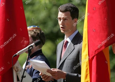Crown Prince Alois of Liechtenstein Delivers a Speech at a Ceremony Marking the Handing Over of the State Leadership Vaduz 15 August 2004 Prince Hans-adam Ii Von Und Zu Liechtenstein Handed Over His Powers to His Son Today at a Garden Party For His Subjects -- All 33 000 of Them Liechtenstein Vaduz