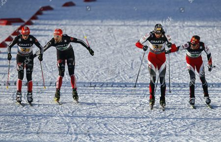 Eric Frenzel and Bjoern Kircheisen of Germany Left and Felix Gottwald and David Kreiner of Austria Ski During the Men's Nordic Combined Team Gundersen 4x5 Km Competition at the Fisánordic Skiing World Championships in Oslo Norway 04 March 2011 Norway Oslo
