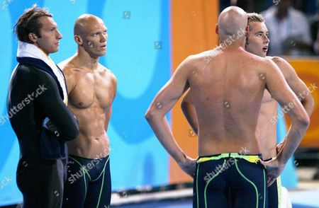 Australian Swimmers Ian Thorpe Michael Klim Grant Hackett and Nicholas Sprenger React After Being Defeated in the Men's 4x200m Freestyle Relay at the Athens Olympic Aquatic Centre Tuesday 17 August 2004 They Gained the Silver Epa/keystone Patrick B Kraemer Greece Athens