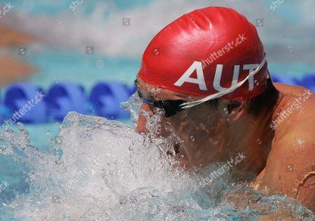 Maxim Podoprigora From Austria Swims His 100m Breaststroke Qualifying Heat at the Athens Olympic Aquatic Centre Saturday 14 August 2004 Epa/keystone Patrick B Kraemer Greece Athens