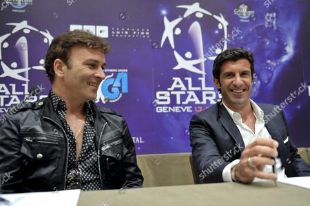 Portuguese Singer Tony Carreira Left and Portuguese Soccer Player Luis Figo Right Speak During a Press Briefing About the All Stars Speak During a Press Briefing About the All Stars 2009 Soccer Friendly Exibitions at the Intercontinental Hotel in Geneva Switzerland 29 May 2009 Switzerland Schweiz Suisse Geneva Geneve Ginevra Genf