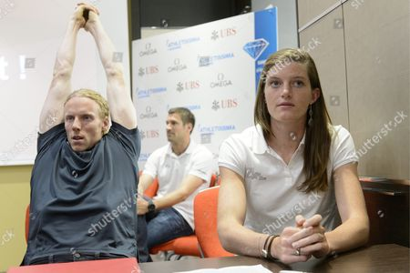 Australian Pole Vaulter and Olympic Champion Steve Hooker (l) and Members of the Switzerland's Women's 4x100 Meters Lea Sprunger (r) Speak During a Press Conference on Athletissima in Lausanne Switzerland Friday June 15 2012 the Diamond League Athletic Meeting Athletissima Will Take Place in Lausanne on August 23 2012 Switzerland Schweiz Suisse Lausanne