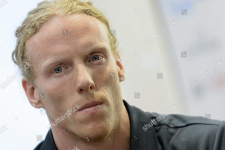 Stock Image of Australian Pole Vaulter and Olympic Champion Steve Hooker Speaks During a Press Conference on Athletissima in Lausanne Switzerland Friday June 15 2012 the Diamond League Athletic Meeting Athletissima Will Take Place in Lausanne on August 23 2012 Switzerland Schweiz Suisse Lausanne