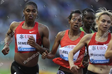 Caster Semenya From South Africa Mimi Belete Competin For Bahrain and Anna Mishchenko From the Ukraine in Action During the Women's 1500m Race at the Athletissima Iaaf Diamond League International Athletics Meeting in the Stade Olympique De La Pontaise in Lausanne Switzerland 30 June 2011 Switzerland Schweiz Suisse Lausanne