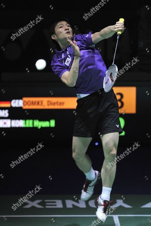Korea's Hyun Lee Returns a Shuttlecock to Germany's Dieter Domke During Their Men's Singles First Round Match at the Badminton Swiss Open Tournament in the St Jakobshalle in Basel Switzerland 14 March 2012 Switzerland Schweiz Suisse Basel