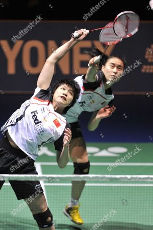China's Qianxin Zhong (l) and Yixin Bao (r) Return a Shuttlecock to China's Xia Huan and Jinhua Tang During Their Women's Doubles Final Match at the Badminton Swiss Open Tournament in the St Jakobshalle in Basel Switzerland 18 March 2012 Switzerland Schweiz Suisse Basel Bale
