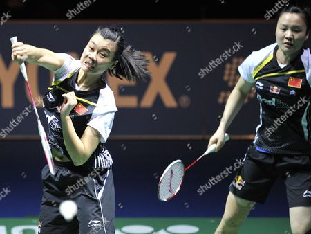 China's Jinhua Tang (l) and Xia Huan (r) Return a Shuttlecock to China's Yixin Bao and Qianxin Zhong During Their Women's Doubles Final Match at the Badminton Swiss Open Tournament in the St Jakobshalle in Basel Switzerland 18 March 2012 Switzerland Schweiz Suisse Basel Bale