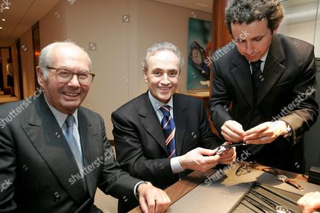 Opera Singer Jose Carreras Center From Spain and His Son Alberto Right Pay a Visit to Jose Carreras Friend Karl Scheufele President and Owner of Chopard Left at the Jewellery and Watch Fair Baselworld in Basel Switzerland Monday 04 April 2005 the Family Chopard and the Jose Carreras Foundation Have Been Working Together For Years in the Fight Against Leukemia Switzerland Schweiz Suisse Basel