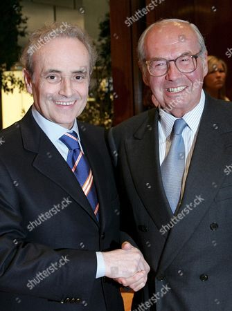 Opera Singer Jose Carreras (l) From Spain Pays a Visit to His Friend Karl Scheufele President and Owner of Chopard Right at the Jewellery and Watch Fair Baselworld in Basel Switzerland Monday 04 April 2005 the Family Chopard and the Jose Carreras Foundation Have Been Working Together For Years in the Fight Against Leukemia Switzerland Schweiz Suisse Basel