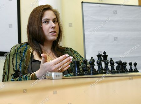 World Class Chess Player Judit Polgar of Hungary Speaks to a Colleague on the Opening Day of the International Chess Tournament in Biel Switzerland 21 July 2007 Switzerland Schweiz Suisse Biel