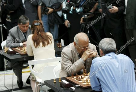 Chess Grandmasters (l-r) Russian Anatoli Karpow Hungarian Judit Polgar Russian Viktor Korchnoi and Us/russian Garry Kasparow Play Chess Against Each Other on Tuesday 22 August 2006 in Zurich Switzerland During the Chess Champions Day Organised by a Swiss Bank Switzerland Schweiz Suisse Zurich